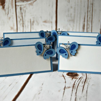 Blue Butterfly Birthday Party Food Buffet Name Tags (Set of 6)