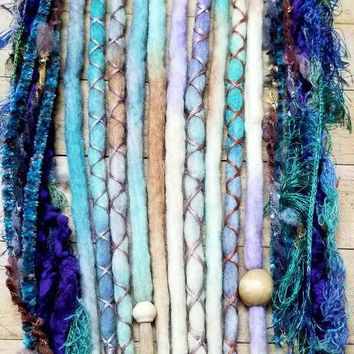 Wool Dreadlocks Custom Wool Dreads Handmade Hippie Dreads Hair Extensions Wool Dreads Ombre Hair Accessories Set of 14
