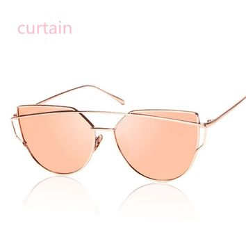 Curtain New Cat Eye Sunglasses Women Vintage Fashion Rose Gold Mirror Sun Glasses Unique Flat Ladies Sunglasses Oculos UV400