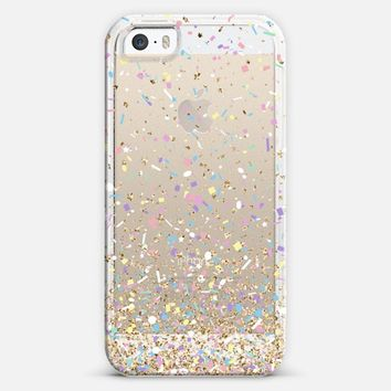 Gold Multicolor Pastel Confetti Transparent iPhone 5s case by Organic Saturation | Casetify