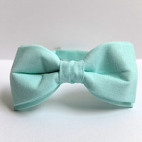 Bow Tie for Men by BartekDesign: pre tied mint green pastel grooms wedding classic retro necktie chic handmade gift for him