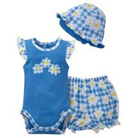 Gerber® Newborn Girls' 3 Piece Daisies Bodysuit, Bloomer and Hat Set - Blue/White/Yellow : Target
