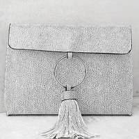 Next Big Thing White Tassel Clutch