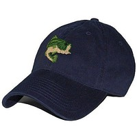 Largemouth Bass Needlepoint Hat in Navy by Smathers & Branson