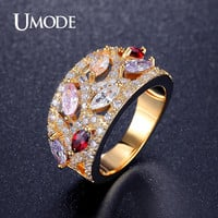 UMODE Vintage 0.25ct Multicolor Marquise Cut Zirconia Cocktail Rings White / Rose / Gold Color Jewelry for Women UR0368