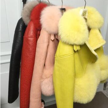 "BUY NOW   Brand Famous Genuine suede leather Fur jackets  women""s Real fur coats .Luxury autumn winter real fox fur coats"
