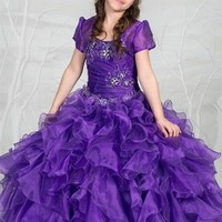 Special Order--Sequined Pageant Dress With Layered Skirt and Bolero (4 Colors)
