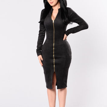 Zip Me Up Dress - Black