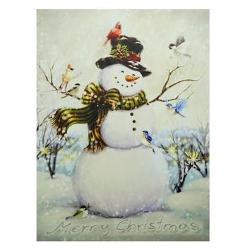"""LED Lighted Vintage Inspired Snowman and Bird Friends Christmas Canvas Wall Art 15.75"""" x 12"""""""
