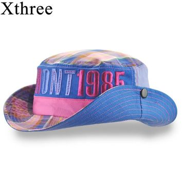 Xthree Cotton summer bucket hat for girl boy cowboy cap kids cap baby hat casquette garcon sun hat for children