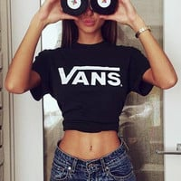 VANS Trending Women Men Loose Letter Print Short Sleeve Round Collar T-Shirt Pullover Top