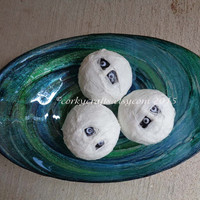 Set of 3 Mummy heads bowl filler/Halloween decoration/party decor