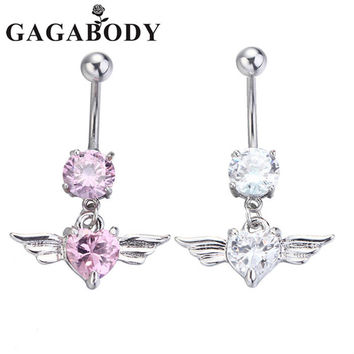 Silver Navel Belly Button Ring Rhinestone Bar Heart Angel
