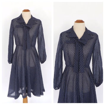 Vintage 1960s 1970s Navy Blue White Polka Dot Dress Retro Tea Dress Shirt Dress Hipster Sailor Girl Burlesque Pin Up Girl Rockabilly