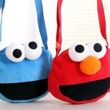 ESBON Candice guo cute plush toy coin bag cartoon Sesame Street Elmo cookie monster small crossbody children girls birthday gift 1pc