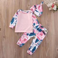 3Pcs Newborn Baby Girls Clothes Set Floral Outfits Tops T-Shirt Long Pants Hat Set Flower Clothing Baby Girl