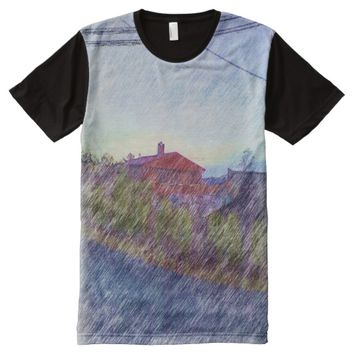 Red House drawing effect All-Over-Print T-Shirt