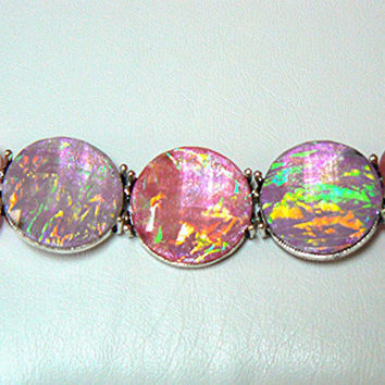 Pink Cats Eye Bead and Pink Fire Polished Cabochon Bracelet, Beaded, Handmade