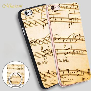 Minason Music Notes Hardshell Mobile Phone Shell Soft TPU Silicone Case Cover for iPhone X 8 5 SE 5S 6 6S 7 Plus