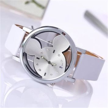 New Fashion Brand 2018 Mickey Creative Women Leather Hollow Watch Cute Girl Quartz Watch Gift Clock Hot Selling Reloj Mujer