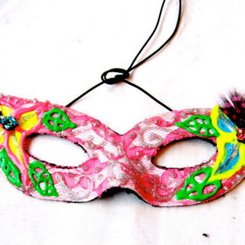 Masquerade Pink Lace Neon Rave Mask by FeatherFunded on Etsy