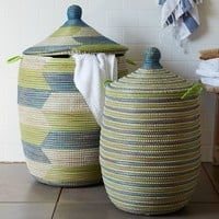 Graphic Printed Baskets - Blue + Green