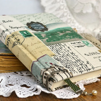 Vintage notebook Fabric covered notebook Antique paper Notebook fabric Personal journal Textile notebook Fabric cover journals Fabric cover