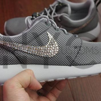 Blinged Nike Roshe Run Shoes Grey Metallic Customized With Swarovski Crystal Rhineston