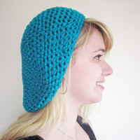 Crochet Merino Wool Slouch The Sweetheart Hat in Peacock