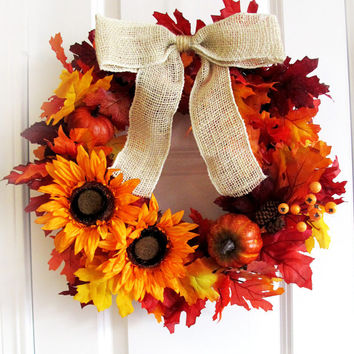 Sunflower Wreath Fall Wreath For Door Rustic Thanksgiving Wreath Autumn Home Decor