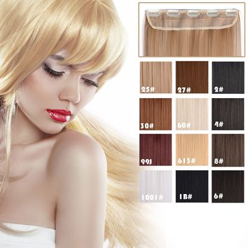 """20"""" Straight 3/4 Full Head Kanekalon Futura Heat Resistance Hair Extensions Clip on in Hairpieces 5 Clips"""