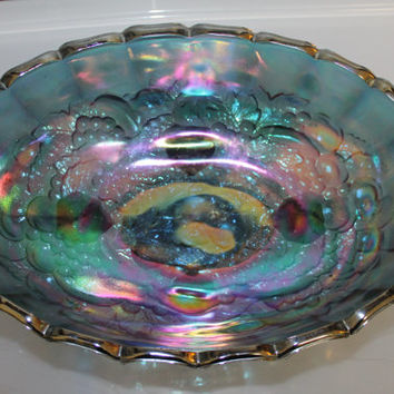 Vintage, Depression Carnival Glass Fruit Harvest Grape Blue Iridescent Oval Footed Bowl, Indiana Glass, Fruit Embossed on it and in it, NICE