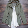 hooded utility parka jacket with drawstring waist in olive green