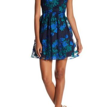 Speechless | Embroidered Illusion Party Dress (Juniors)