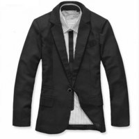 Korea Black Cotton Casual One-Piece Jacket M/L/XL@dat257