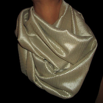 Gold, Homemade, Infinity Scarf.