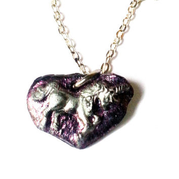 Clay Unicorn Pendant, Clay Unicorn Necklace, Unicorn Necklace, Clay Necklace, Black Clay Jewelry, Black Unicorn Necklace, Purple Unicorn