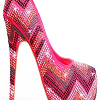 CORAL MULTICOLOR RHINESTONES ZIG ZAG PRINT ALMOND TOE HIGH HEEL PUMPS