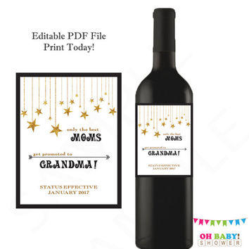 Only the Best Moms Get Promoted to Grandma Pregnancy Announcement Wine Label Personalized Pregnancy Reveal Custom Labels Baby Announcement