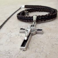Crucifix Cross Men's Necklace:  Black and Brown Macrame Leather Unisex Jewelry, Religious Medal