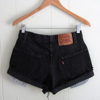 Vintage 90s Black 550 Levi's Cut Off Denim Shorts Jean Boyfriend Cuffed 29""