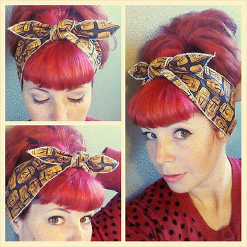 Tiki one sided Wide Headwrap Headscarf Bandana Hair Bow Tie Vintage Style - Rockabilly - Pin Up