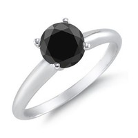 3 CT Black Diamond Solitaire Ring 14K White Gold in Size 10 (Available In Sizes 4 - 10)