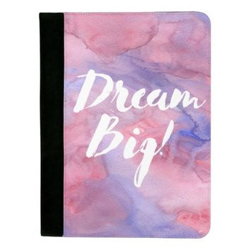 Dream Big Blue and Pink Watercolor Padfolio