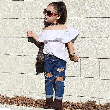 New Toddler Girls Kids Off Shoulder Tops Ruffle Loose Shirt Distressed Denim Pants Jeans Outfits Set
