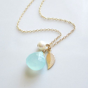 Peruvian Chalcedony, Fresh Water Pearl and Tiny Gold Leaf Necklace by Yameyu
