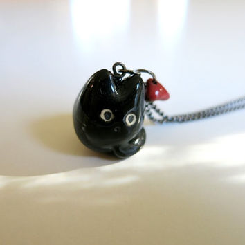 Black Cat Necklace Cat Valentine Gift Ceramic Charm Jewelry Black Red Valentines Day Gift Black Cat Lover Black Cat Red Heart Cat Heart