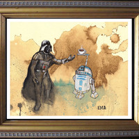 Vader - R2D2 - May the Froth Be With You Star Wars Print of Original Painting on Tea Stained Rives BFK Paper by Elliott Addesso