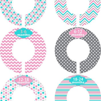 Custom Baby Closet Dividers Girl Pink Grey Aqua Chevron Nursery Closet Dividers Baby Shower Gift Baby Clothes Organizers Baby