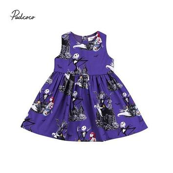 Pudcoco 2018 Halloween Girl Kids Toddler Baby Dress Ghost Princess Party Pageant Wedding Tutu Dresses Outfit Costume 2-6Y